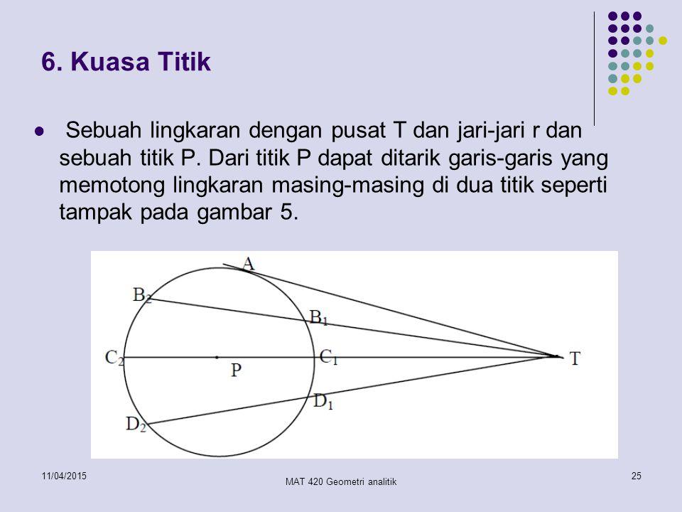 11/04/2015 MAT 420 Geometri analitik 25 6. Kuasa Titik Sebuah lingkaran dengan pusat T dan jari-jari r dan sebuah titik P. Dari titik P dapat ditarik