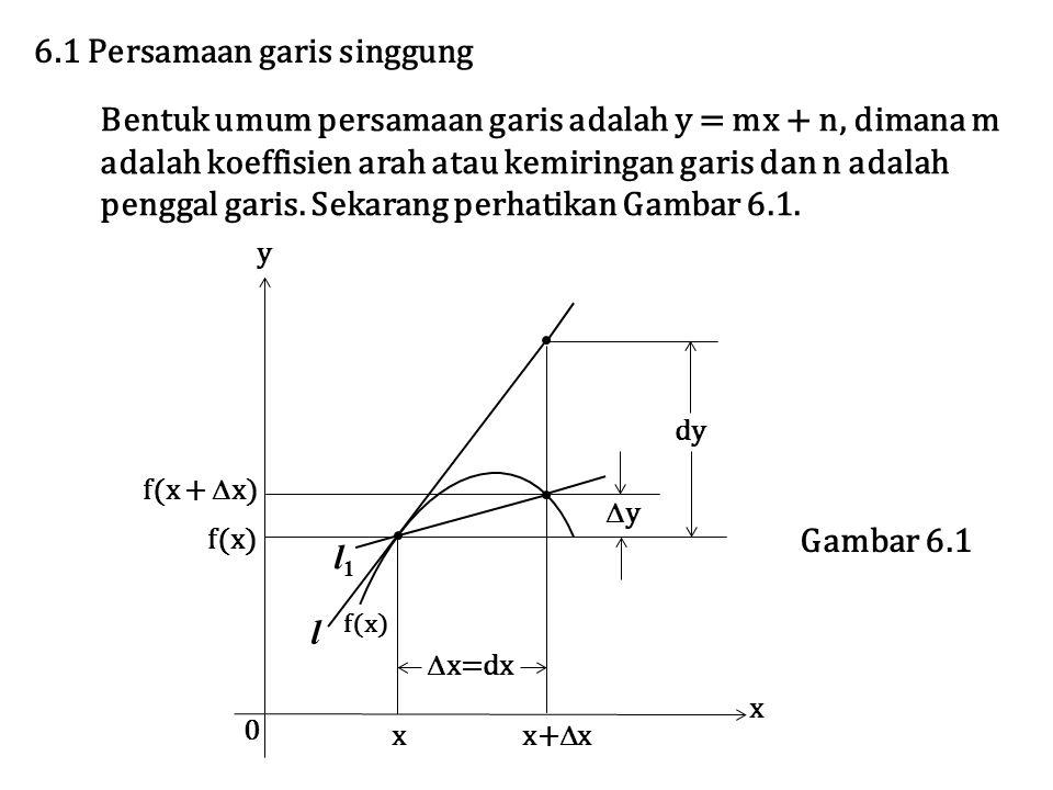 6.1 Persamaan garis singgung Bentuk umum persamaan garis adalah y = mx + n, dimana m adalah koeffisien arah atau kemiringan garis dan n adalah penggal garis.