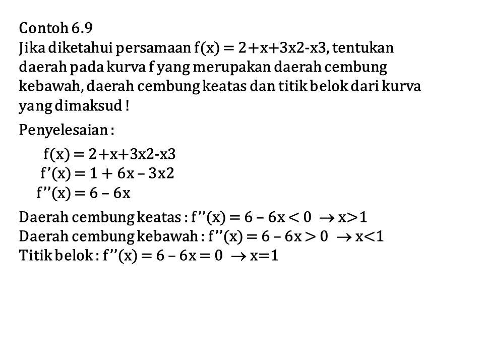 Contoh 6.9 Jika diketahui persamaan f(x) = 2+x+3x2-x3, tentukan daerah pada kurva f yang merupakan daerah cembung kebawah, daerah cembung keatas dan titik belok dari kurva yang dimaksud .