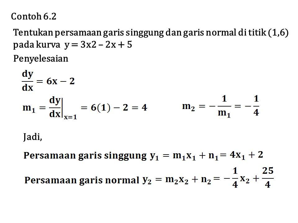 Tentukan persamaan garis singgung dan garis normal di titik (1,6) pada kurva y = 3x2 – 2x + 5 Contoh 6.2 Penyelesaian Jadi,