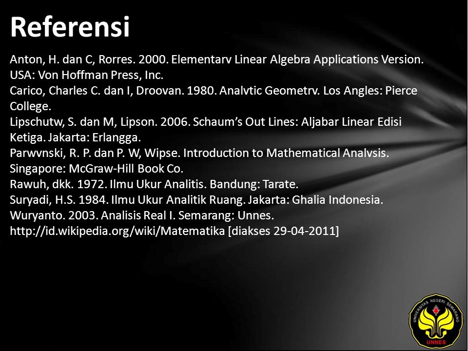 Referensi Anton, H. dan C, Rorres. 2000. Elementarv Linear Algebra Applications Version.