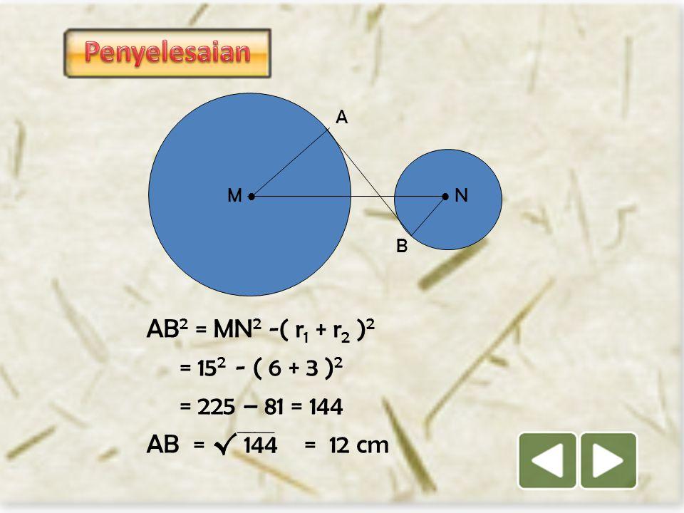 M   N A B Jika : AM = 6 cm, BN = 3 cm dan MN = 15 cm Tentukan panjang garis singgung AB.