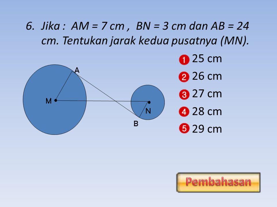 5.Jika titik (2a, -5) terletak pada lingkaran x 2 + y 2 = 41 maka nilai a adalah….