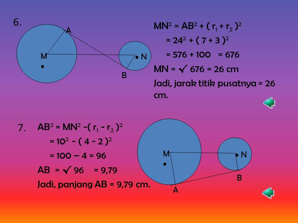 Titik (2a, -5) terletak pada lingkaran x 2 + y 2 = 41, berarti (2a) 2 + (-5) 2 = 41 4a 2 + 25 = 41 4a 2 = 41 – 25 = 16 a = 4 → a = 2 atau a = -2 5.