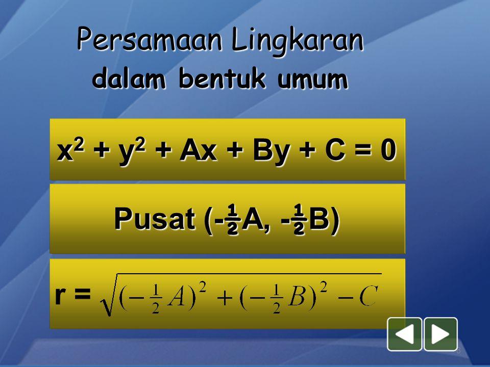 7 (x – a) 2 + (y - b) 2 = r 2 Pusat lingkaran (a,b), r = jari-jari a ( a, b) b (0,0) 2.