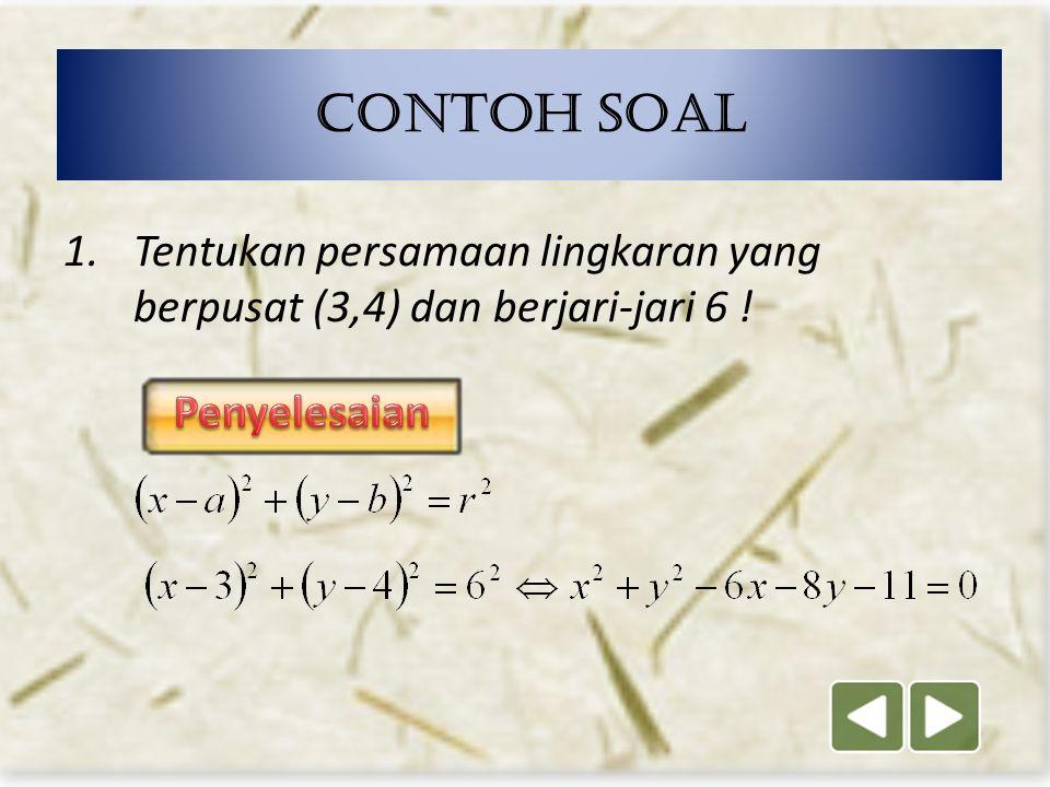 8 x 2 + y 2 + Ax + By + C = 0 Persamaan Lingkaran dalam bentuk umum Pusat (- ½ A, - ½ B) r =
