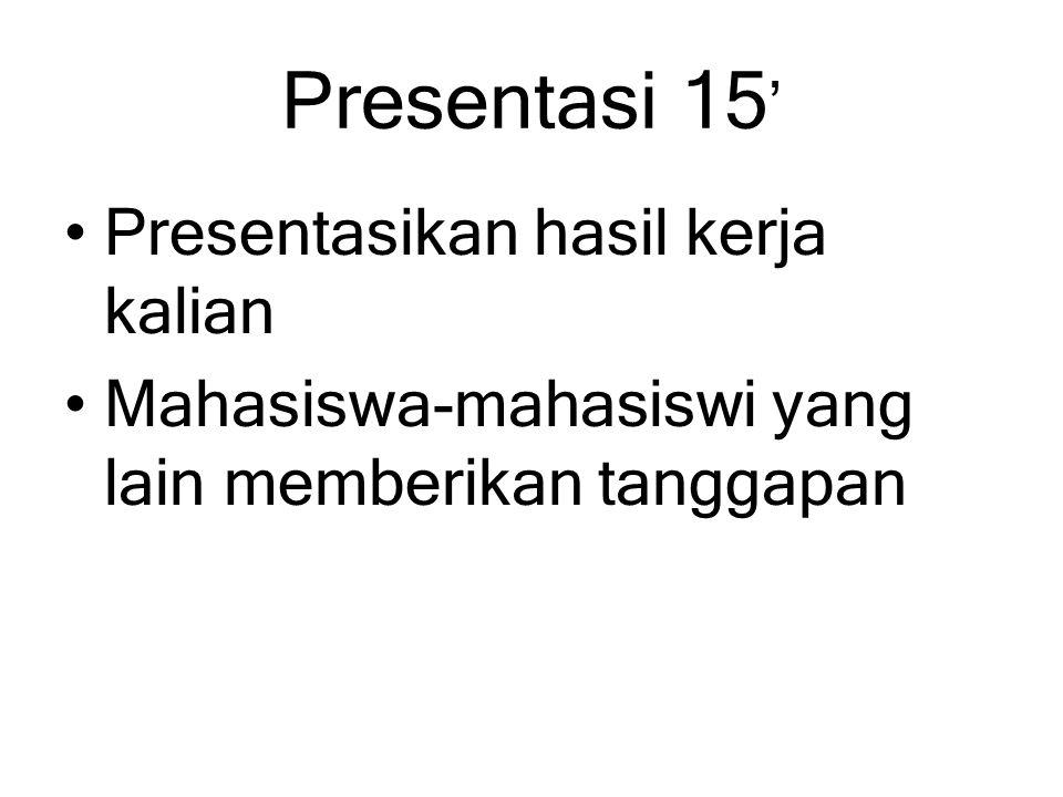 Presentasi 15 ' Presentasikan hasil kerja kalian Mahasiswa-mahasiswi yang lain memberikan tanggapan