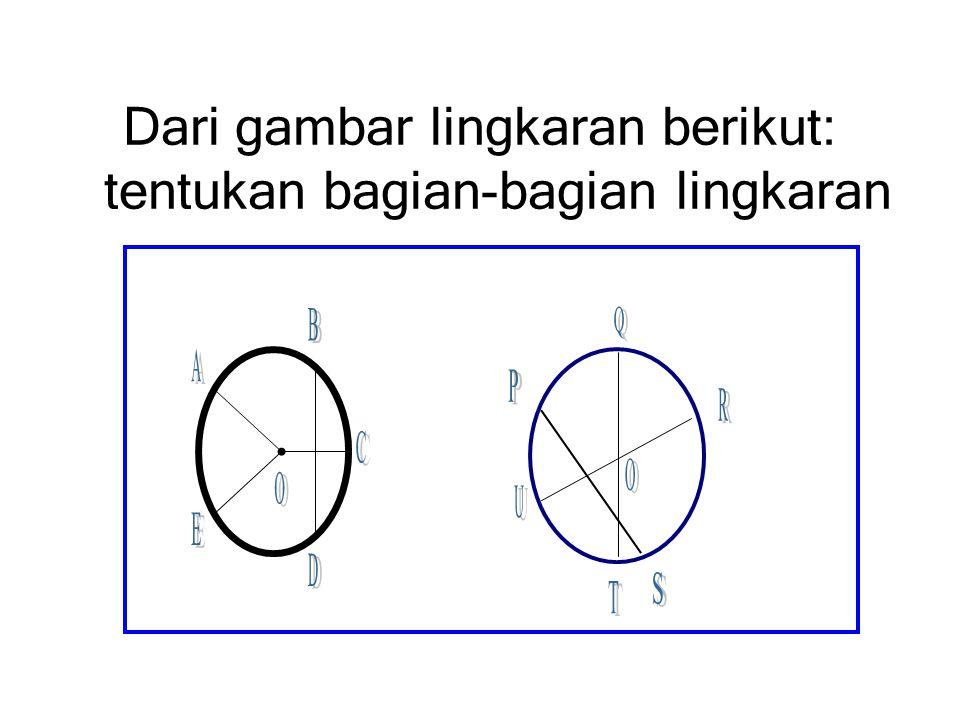 Dari gambar lingkaran berikut: tentukan bagian-bagian lingkaran