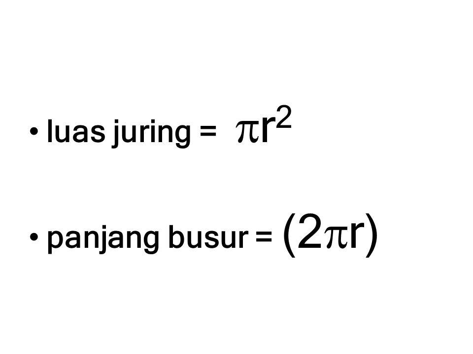 luas juring =  r 2 panjang busur = (2  r)