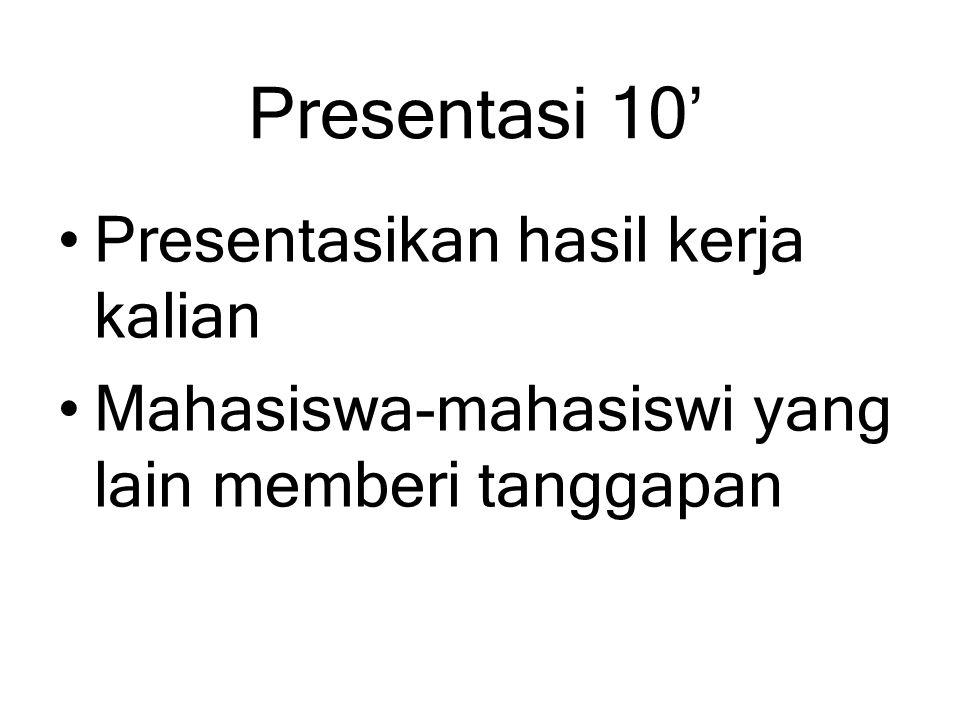 Presentasi 10' Presentasikan hasil kerja kalian Mahasiswa-mahasiswi yang lain memberi tanggapan