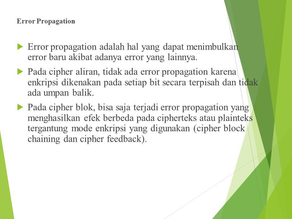 Error Propagation  Error propagation adalah hal yang dapat menimbulkan error baru akibat adanya error yang lainnya.  Pada cipher aliran, tidak ada e