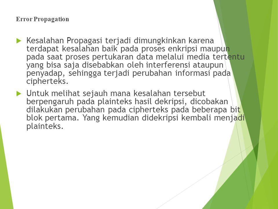 Error Propagation  Kesalahan Propagasi terjadi dimungkinkan karena terdapat kesalahan baik pada proses enkripsi maupun pada saat proses pertukaran da
