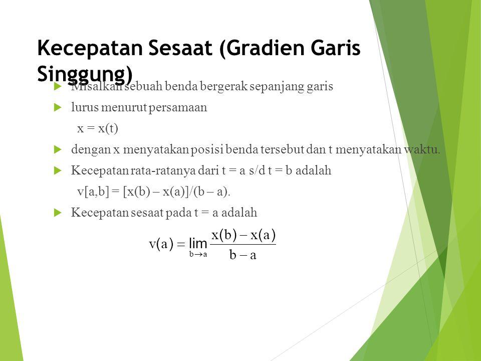 Kecepatan Sesaat (Gradien Garis Singgung)  Misalkan sebuah benda bergerak sepanjang garis  lurus menurut persamaan x = x(t)  dengan x menyatakan po