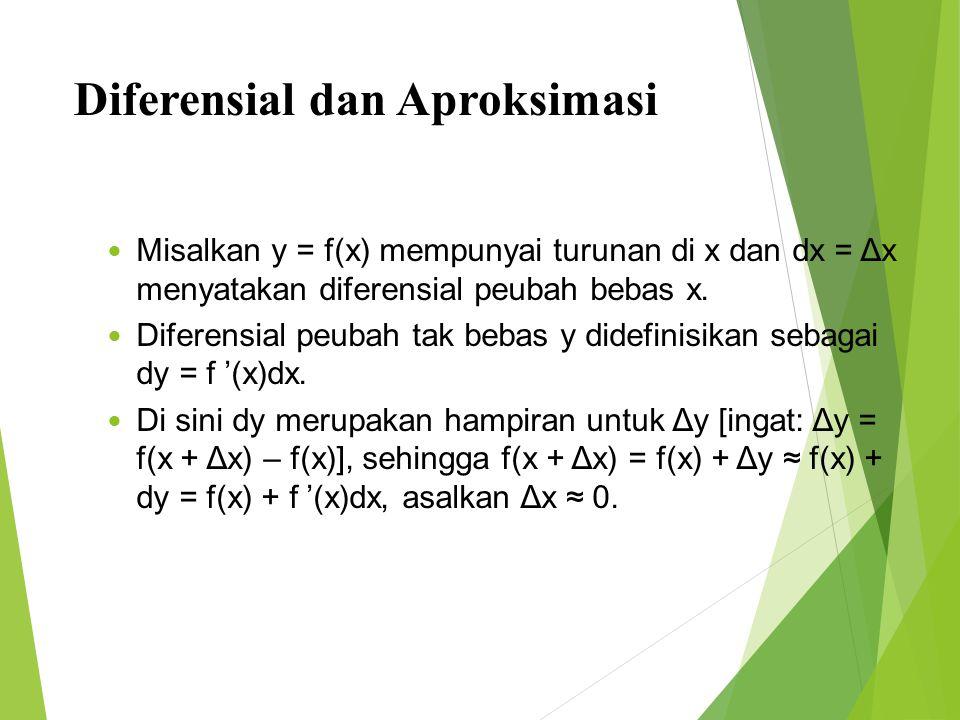 Diferensial dan Aproksimasi 41 Misalkan y = f(x) mempunyai turunan di x dan dx = Δx menyatakan diferensial peubah bebas x. Diferensial peubah tak beba