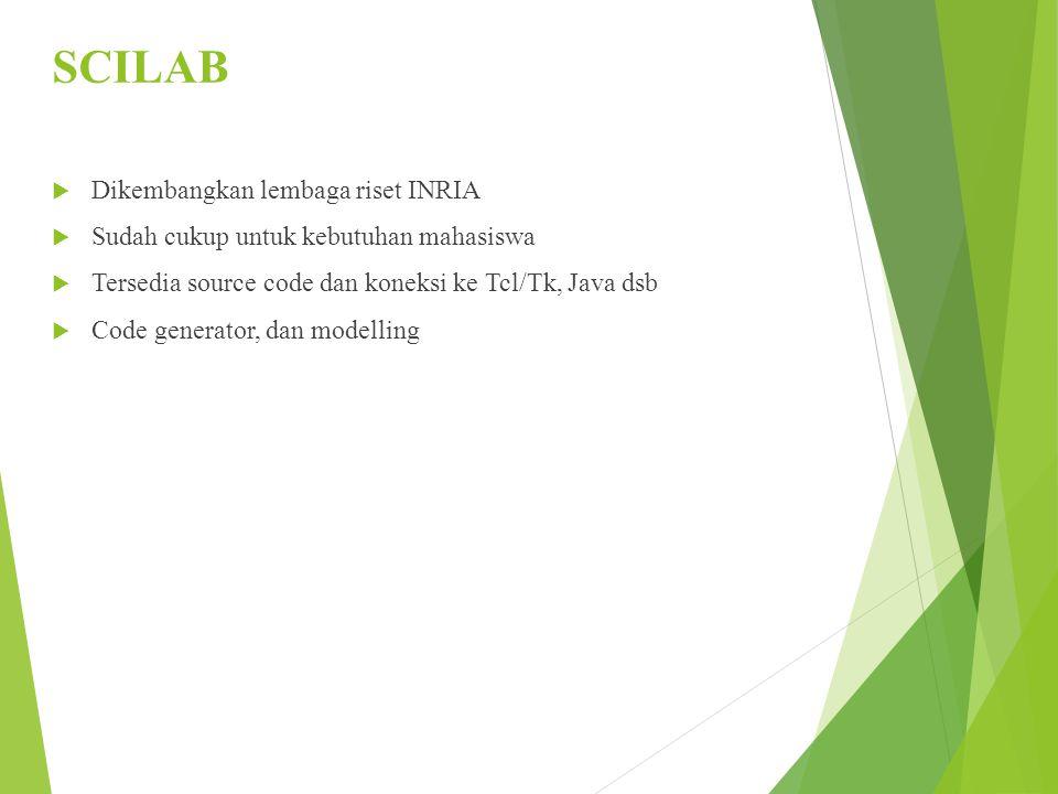 SCILAB  Dikembangkan lembaga riset INRIA  Sudah cukup untuk kebutuhan mahasiswa  Tersedia source code dan koneksi ke Tcl/Tk, Java dsb  Code genera