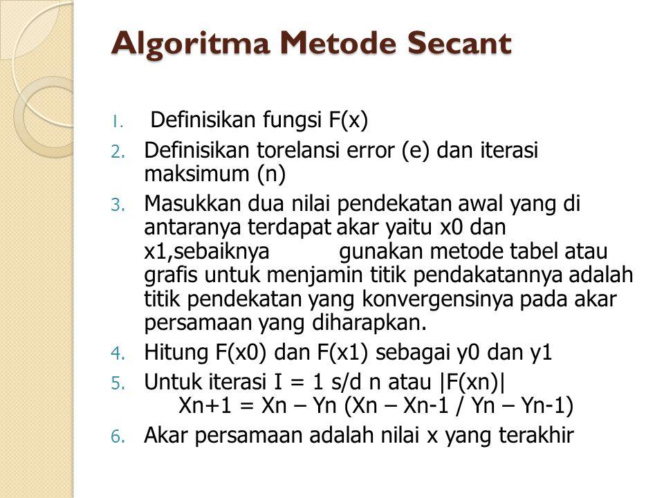Algoritma Metode Secant 1. Definisikan fungsi F(x) 2. Definisikan torelansi error (e) dan iterasi maksimum (n) 3. Masukkan dua nilai pendekatan awal y