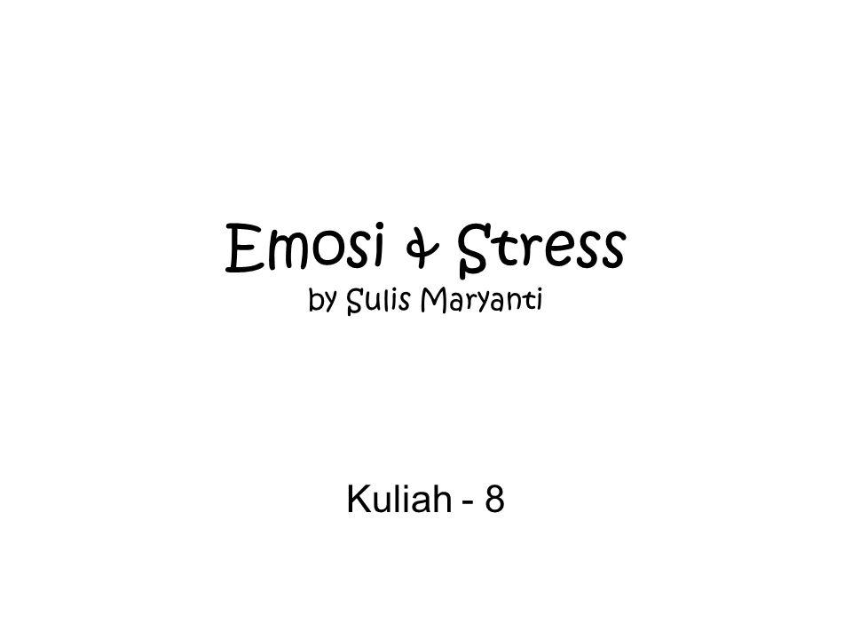 APA ITU EMOSI  Tidak mudah untuk dijawab, banyak sekali definisi emosi dan tidak ada yg dapat diterima secara umum karena :  Emosi melibatkan banyak aspek  Emosi melibatkan banyak hal sekaligus  Definisi yg komprehensif harus memuat aspek2: Apa yg dirasakan seseorang yg berada dalam keadaan emosional Dasar fisiologis/biologis dari perasaan emosional Dampak emosi terhadap persepsi, berpikir & berprilaku Hal-hal yg mendorong (driving) /motivational properties dari emosi tertentu, seperti takut & marah Tentang bagaimana emosi diekspresikan dalam bahasa, ekspresi wajah, gesture (gerak-gerik)
