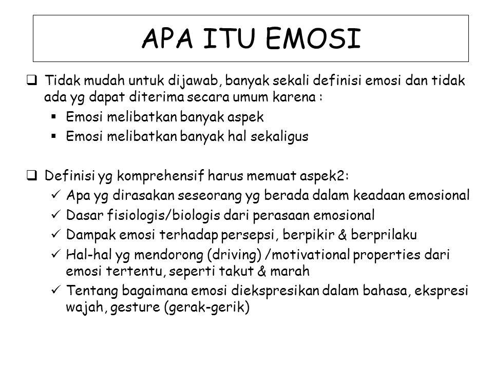 APA ITU EMOSI  Tidak mudah untuk dijawab, banyak sekali definisi emosi dan tidak ada yg dapat diterima secara umum karena :  Emosi melibatkan banyak