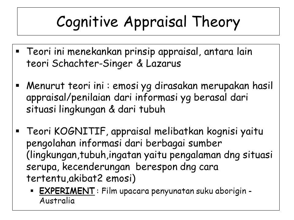Cognitive Appraisal Theory  Teori ini menekankan prinsip appraisal, antara lain teori Schachter-Singer & Lazarus  Menurut teori ini : emosi yg dirasakan merupakan hasil appraisal/penilaian dari informasi yg berasal dari situasi lingkungan & dari tubuh  Teori KOGNITIF, appraisal melibatkan kognisi yaitu pengolahan informasi dari berbagai sumber (lingkungan,tubuh,ingatan yaitu pengalaman dng situasi serupa, kecenderungan berespon dng cara tertentu,akibat2 emosi)  EXPERIMENT : Film upacara penyunatan suku aborigin - Australia