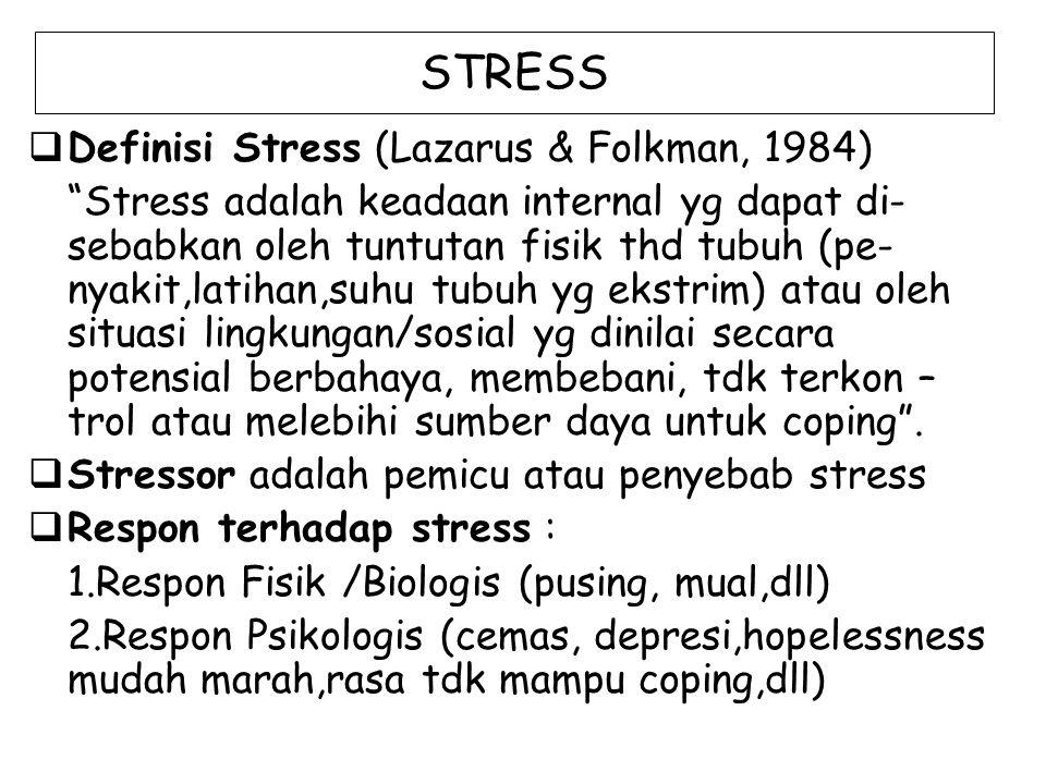STRESS  Definisi Stress (Lazarus & Folkman, 1984) Stress adalah keadaan internal yg dapat di- sebabkan oleh tuntutan fisik thd tubuh (pe- nyakit,latihan,suhu tubuh yg ekstrim) atau oleh situasi lingkungan/sosial yg dinilai secara potensial berbahaya, membebani, tdk terkon – trol atau melebihi sumber daya untuk coping .