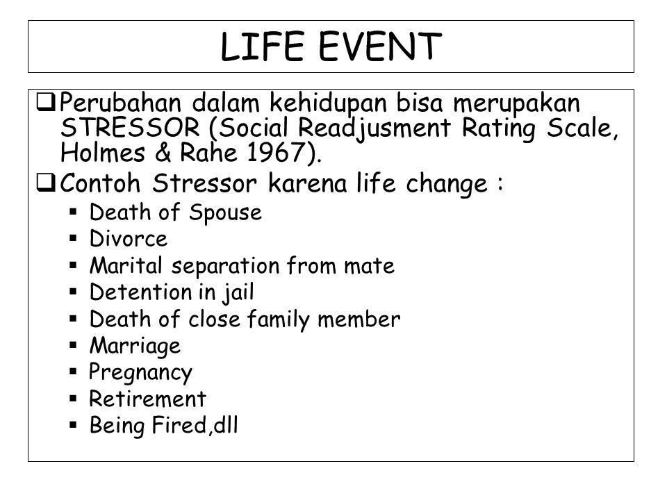 LIFE EVENT  Perubahan dalam kehidupan bisa merupakan STRESSOR (Social Readjusment Rating Scale, Holmes & Rahe 1967).  Contoh Stressor karena life ch