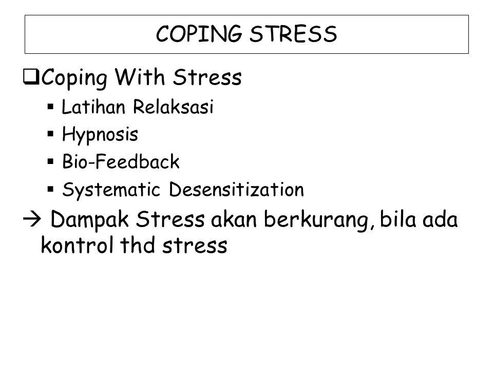 COPING STRESS  Coping With Stress  Latihan Relaksasi  Hypnosis  Bio-Feedback  Systematic Desensitization  Dampak Stress akan berkurang, bila ada kontrol thd stress