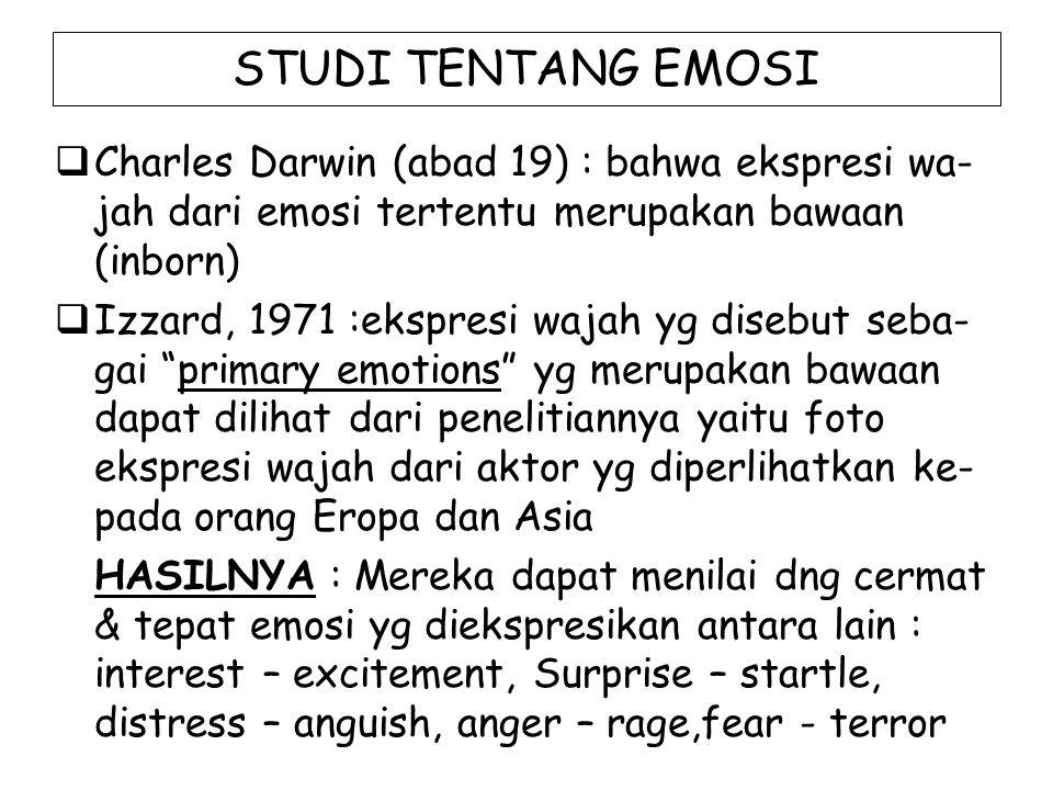 STUDI TENTANG EMOSI  Charles Darwin (abad 19) : bahwa ekspresi wa- jah dari emosi tertentu merupakan bawaan (inborn)  Izzard, 1971 :ekspresi wajah yg disebut seba- gai primary emotions yg merupakan bawaan dapat dilihat dari penelitiannya yaitu foto ekspresi wajah dari aktor yg diperlihatkan ke- pada orang Eropa dan Asia HASILNYA : Mereka dapat menilai dng cermat & tepat emosi yg diekspresikan antara lain : interest – excitement, Surprise – startle, distress – anguish, anger – rage,fear - terror