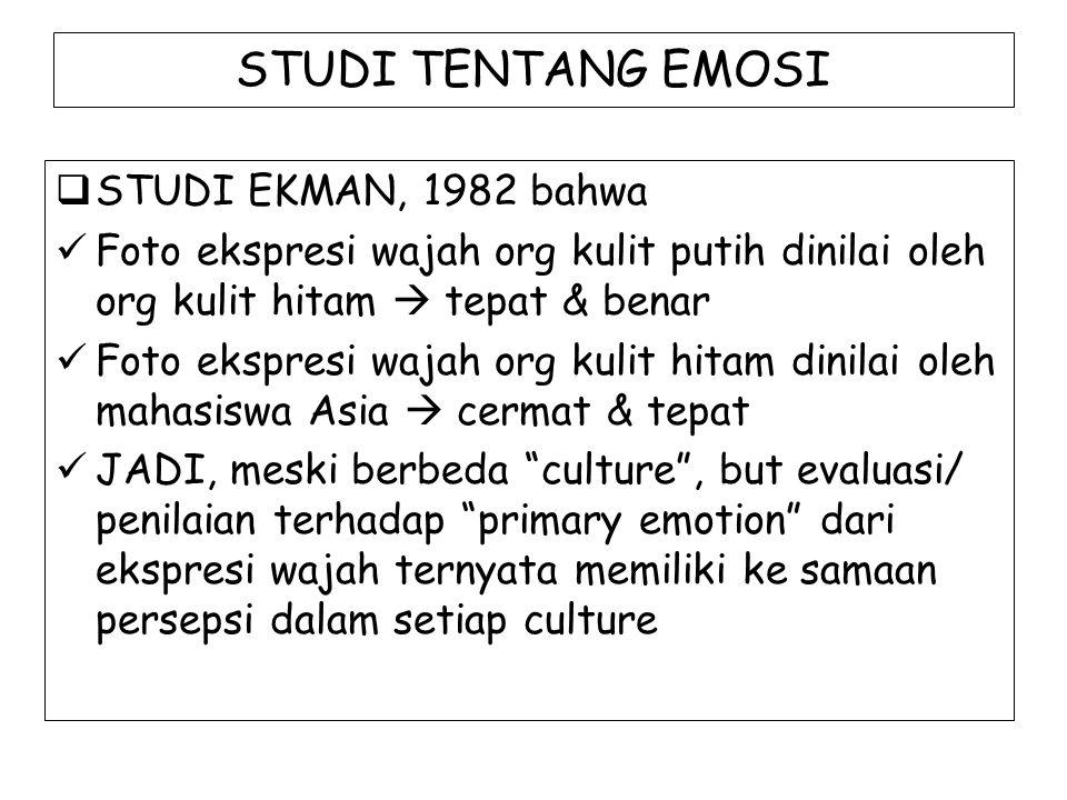 STUDI TENTANG EMOSI  STUDI EKMAN, 1982 bahwa Foto ekspresi wajah org kulit putih dinilai oleh org kulit hitam  tepat & benar Foto ekspresi wajah org
