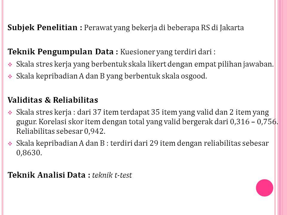 Subjek Penelitian : Perawat yang bekerja di beberapa RS di Jakarta Teknik Pengumpulan Data : Kuesioner yang terdiri dari :  Skala stres kerja yang berbentuk skala likert dengan empat pilihan jawaban.