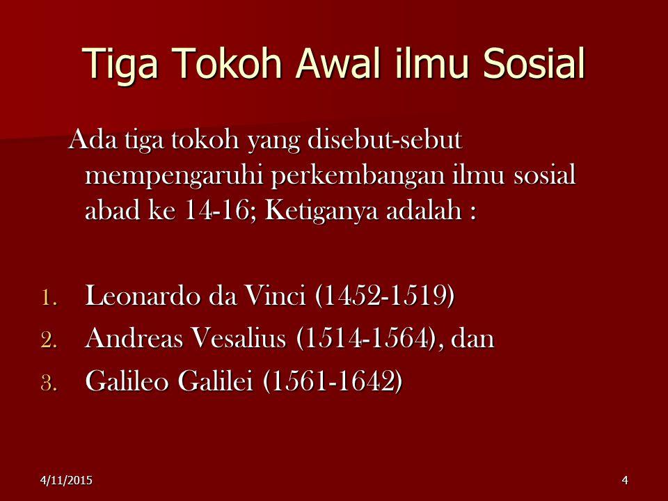 Tiga Tokoh Awal ilmu Sosial Ada tiga tokoh yang disebut-sebut mempengaruhi perkembangan ilmu sosial abad ke 14-16; Ketiganya adalah : 1.