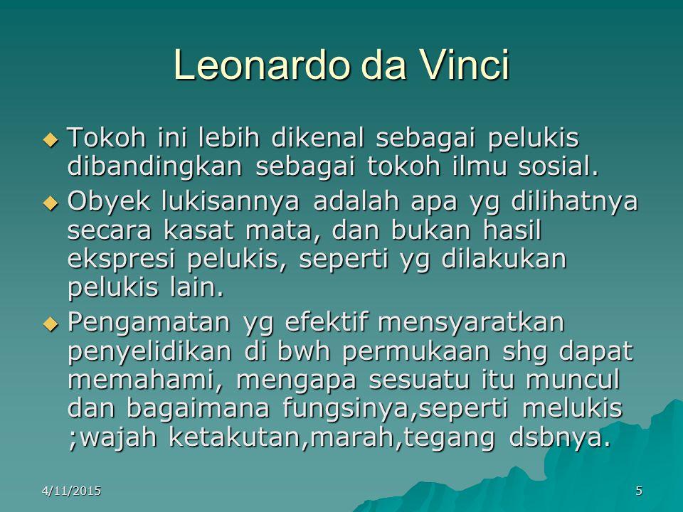 Leonardo da Vinci (lanjutan)  Untuk dapat melukis wajah ketakutan, marah, wajah tegang,dsbnya.