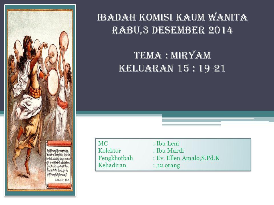 Materi Khotbah Wanita dalam alkitab kali ini berkisah tentang Miryam.
