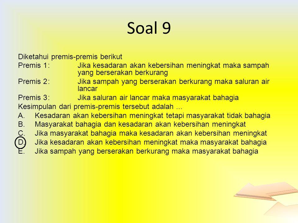 Soal 9 Diketahui premis-premis berikut Premis 1: Jika kesadaran akan kebersihan meningkat maka sampah yang berserakan berkurang Premis 2: Jika sampah
