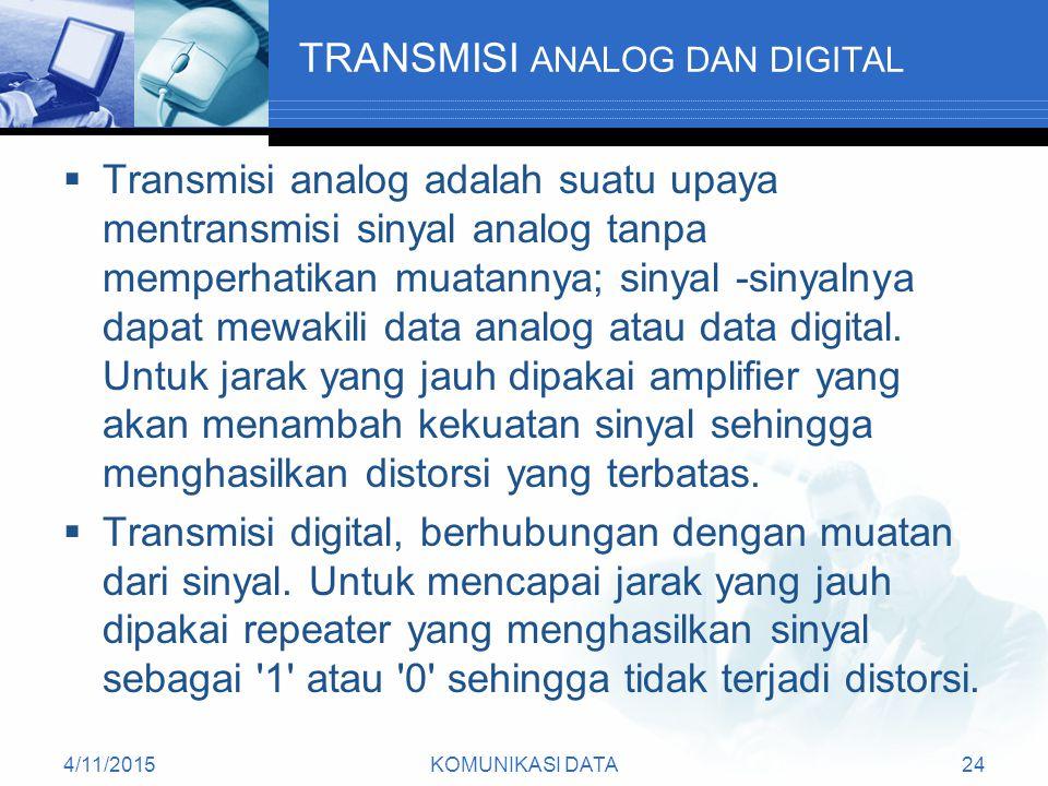 4/11/2015KOMUNIKASI DATA24 TRANSMISI ANALOG DAN DIGITAL  Transmisi analog adalah suatu upaya mentransmisi sinyal analog tanpa memperhatikan muatannya; sinyal -sinyalnya dapat mewakili data analog atau data digital.