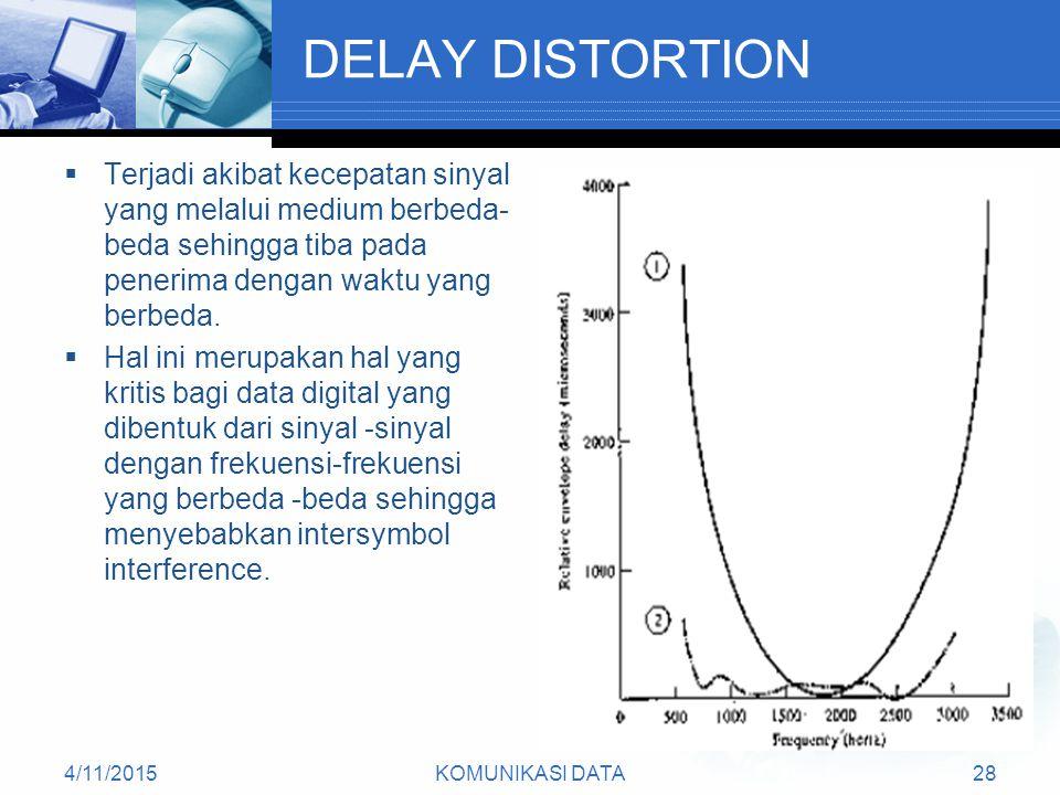 4/11/2015KOMUNIKASI DATA28 DELAY DISTORTION  Terjadi akibat kecepatan sinyal yang melalui medium berbeda- beda sehingga tiba pada penerima dengan waktu yang berbeda.