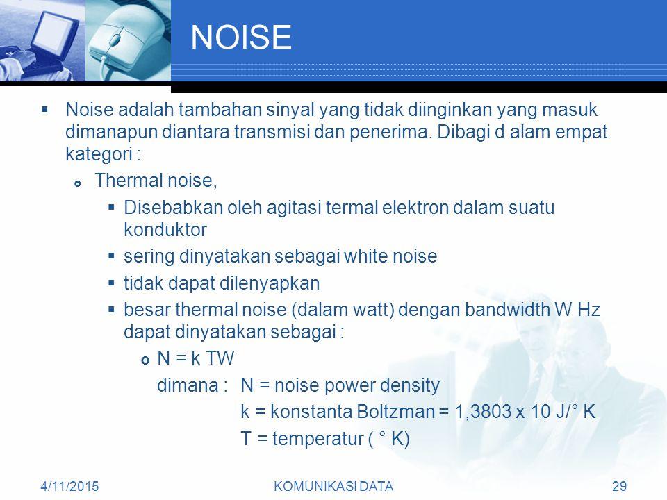 4/11/2015KOMUNIKASI DATA29 NOISE  Noise adalah tambahan sinyal yang tidak diinginkan yang masuk dimanapun diantara transmisi dan penerima.