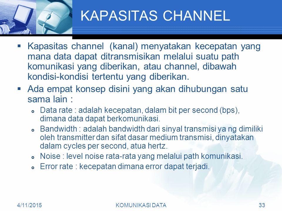 4/11/2015KOMUNIKASI DATA33 KAPASITAS CHANNEL  Kapasitas channel (kanal) menyatakan kecepatan yang mana data dapat ditransmisikan melalui suatu path komunikasi yang diberikan, atau channel, dibawah kondisi-kondisi tertentu yang diberikan.
