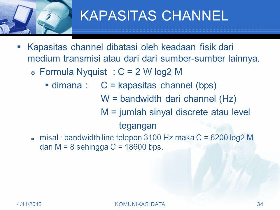 4/11/2015KOMUNIKASI DATA34 KAPASITAS CHANNEL  Kapasitas channel dibatasi oleh keadaan fisik dari medium transmisi atau dari dari sumber-sumber lainnya.