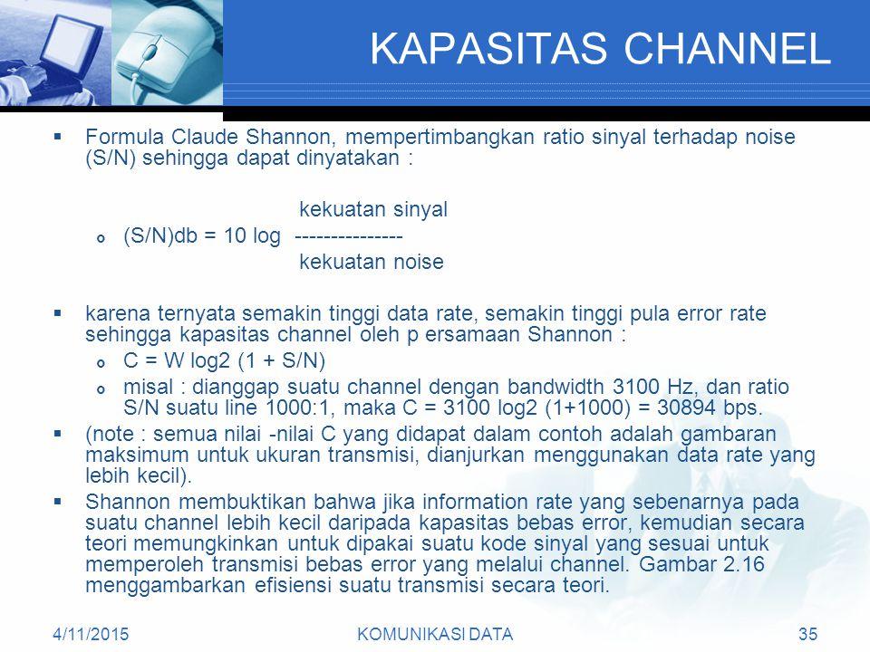 4/11/2015KOMUNIKASI DATA35 KAPASITAS CHANNEL  Formula Claude Shannon, mempertimbangkan ratio sinyal terhadap noise (S/N) sehingga dapat dinyatakan : kekuatan sinyal  (S/N)db = 10 log --------------- kekuatan noise  karena ternyata semakin tinggi data rate, semakin tinggi pula error rate sehingga kapasitas channel oleh p ersamaan Shannon :  C = W log2 (1 + S/N)  misal : dianggap suatu channel dengan bandwidth 3100 Hz, dan ratio S/N suatu line 1000:1, maka C = 3100 log2 (1+1000) = 30894 bps.