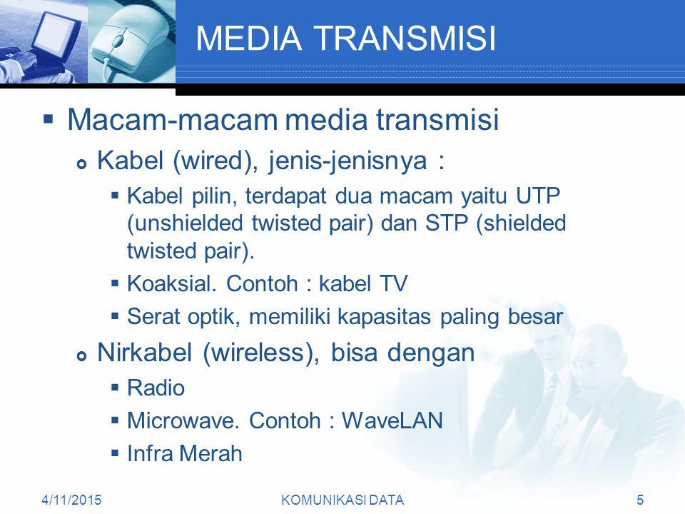 4/11/2015KOMUNIKASI DATA5 MEDIA TRANSMISI  Macam-macam media transmisi  Kabel (wired), jenis-jenisnya :  Kabel pilin, terdapat dua macam yaitu UTP (unshielded twisted pair) dan STP (shielded twisted pair).