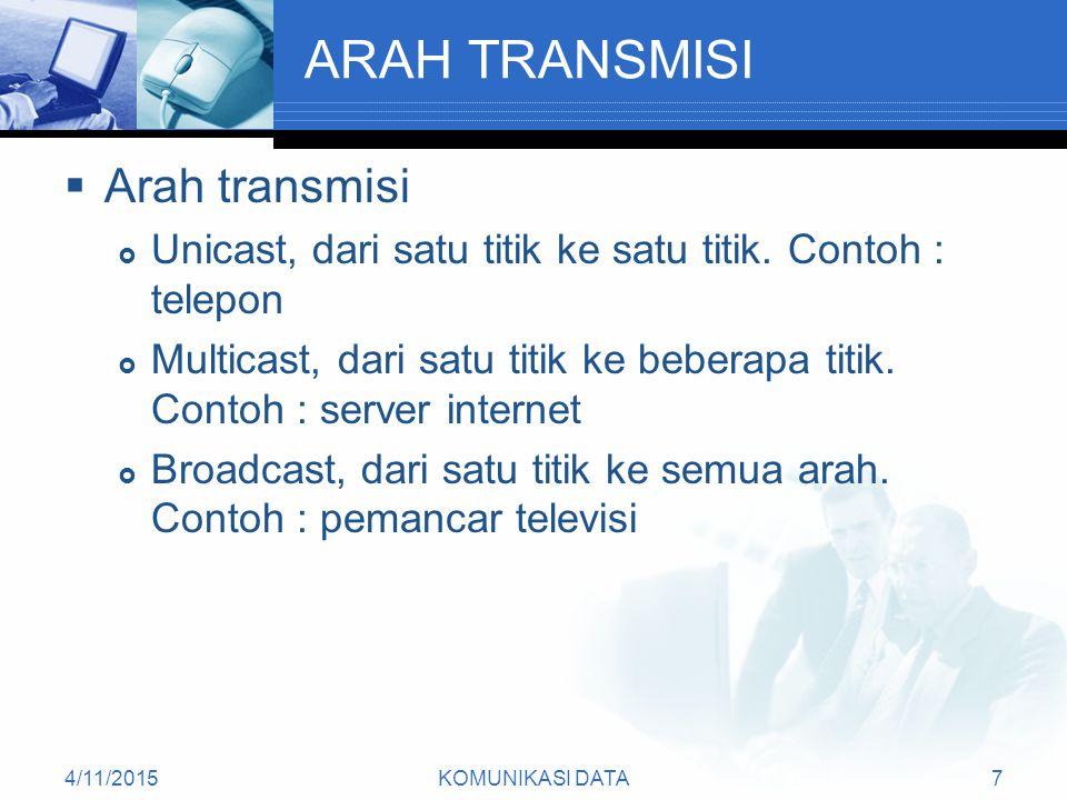 4/11/2015KOMUNIKASI DATA7 ARAH TRANSMISI  Arah transmisi  Unicast, dari satu titik ke satu titik.