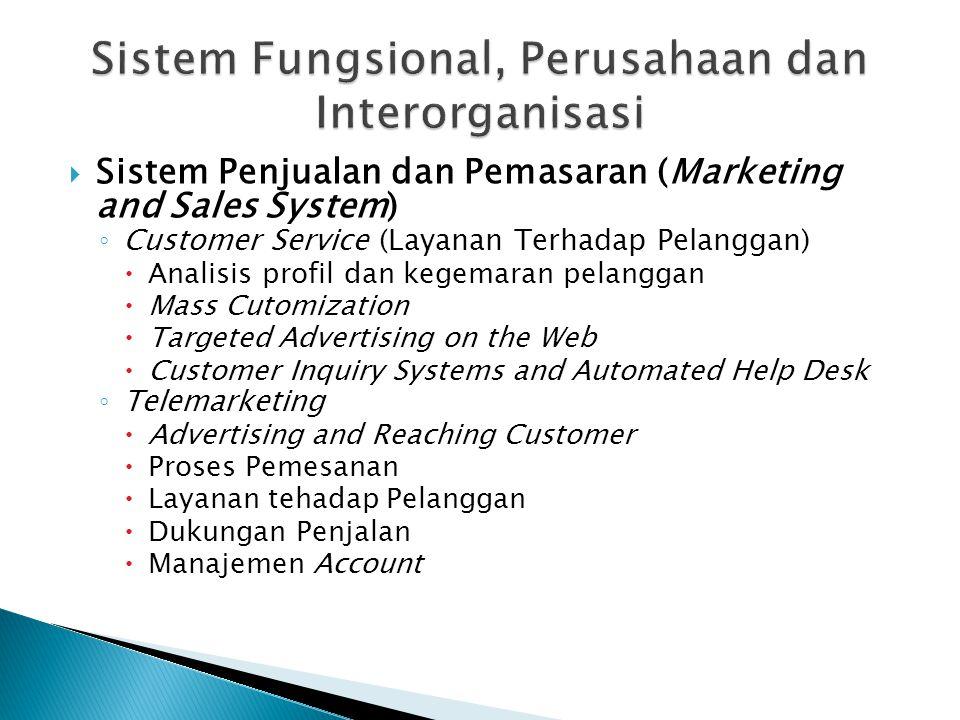  Sistem Penjualan dan Pemasaran (Marketing and Sales System) ◦ Customer Service (Layanan Terhadap Pelanggan)  Analisis profil dan kegemaran pelangga