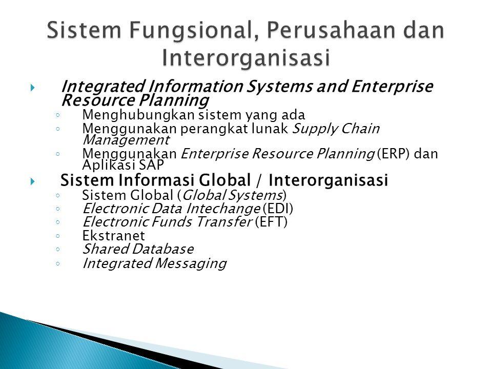 Integrated Information Systems and Enterprise Resource Planning ◦ Menghubungkan sistem yang ada ◦ Menggunakan perangkat lunak Supply Chain Managemen