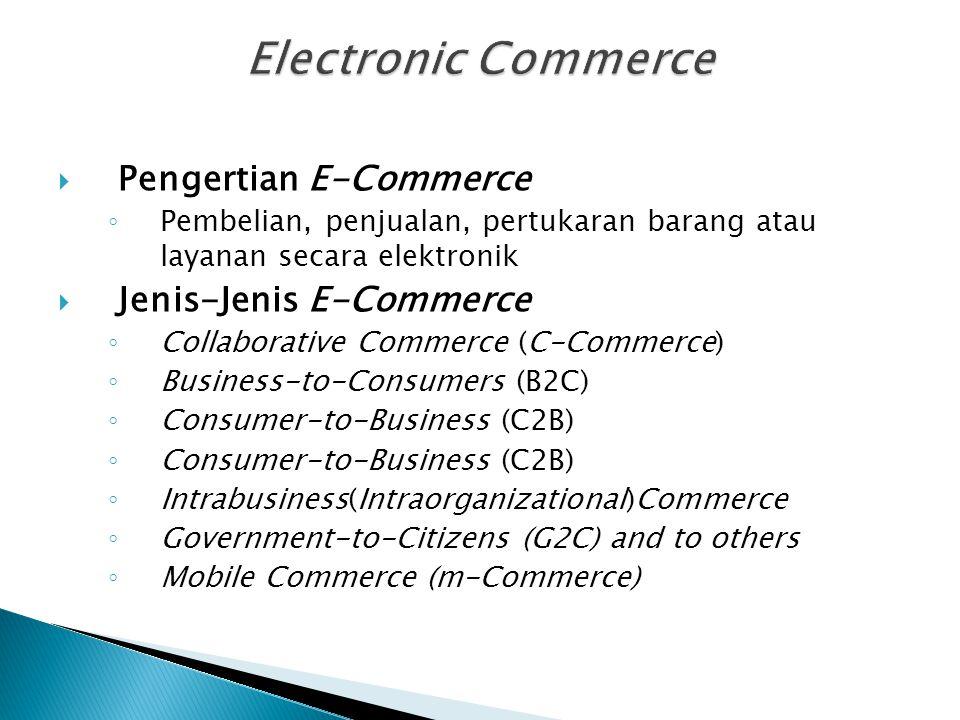  Pengertian E-Commerce ◦ Pembelian, penjualan, pertukaran barang atau layanan secara elektronik  Jenis-Jenis E-Commerce ◦ Collaborative Commerce (C-