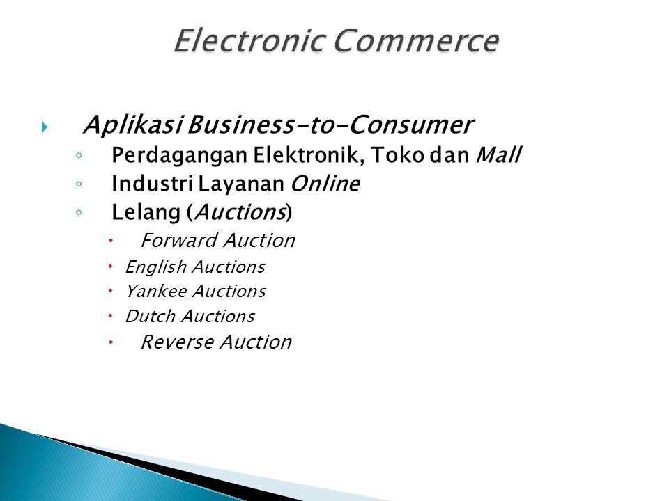  Aplikasi Business-to-Consumer ◦ Perdagangan Elektronik, Toko dan Mall ◦ Industri Layanan Online ◦ Lelang (Auctions)  Forward Auction  English Auct