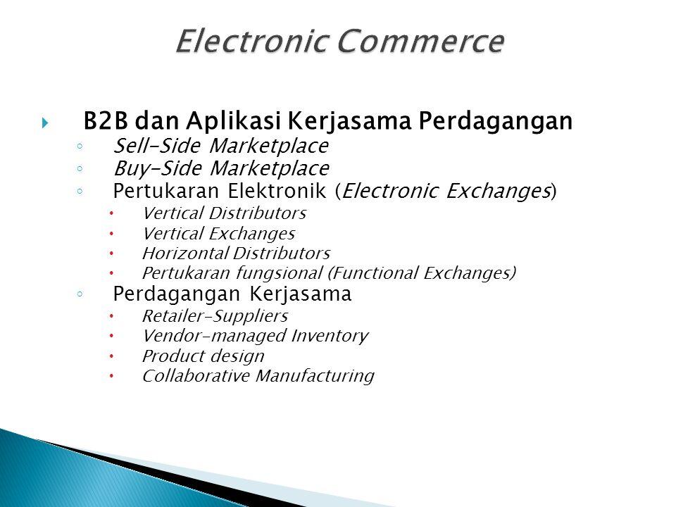  B2B dan Aplikasi Kerjasama Perdagangan ◦ Sell-Side Marketplace ◦ Buy-Side Marketplace ◦ Pertukaran Elektronik (Electronic Exchanges)  Vertical Dist