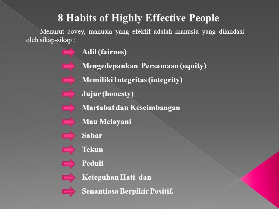 8 Habits of Highly Effective People Menurut covey, manusia yang efektif adalah manusia yang dilandasi oleh sikap-sikap : Adil (fairnes) Mengedepankan