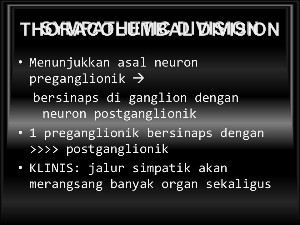 Menunjukkan asal neuron preganglionik  bersinaps di ganglion dengan neuron postganglionik 1 preganglionik bersinaps dengan >>>> postganglionik KLINIS