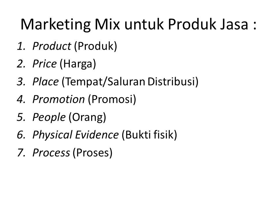 Marketing Mix untuk Produk Jasa : 1.Product (Produk) 2.Price (Harga) 3.Place (Tempat/Saluran Distribusi) 4.Promotion (Promosi) 5.People (Orang) 6.Phys