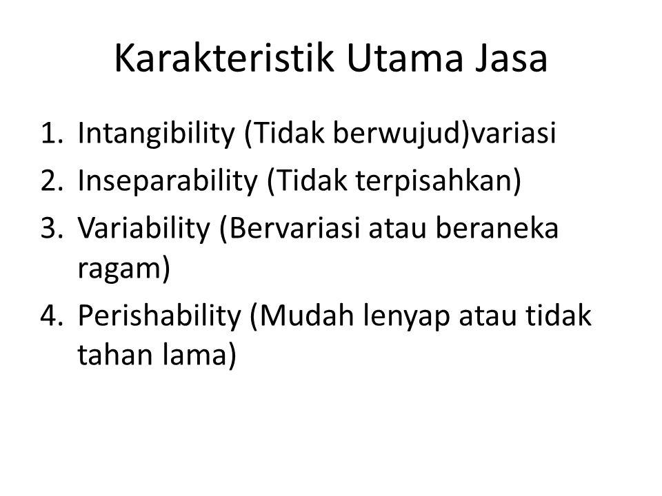 Karakteristik Utama Jasa 1.Intangibility (Tidak berwujud)variasi 2.Inseparability (Tidak terpisahkan) 3.Variability (Bervariasi atau beraneka ragam) 4